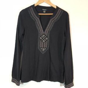 Lucky Brand Top Blouse Boho Embroidered Hippie